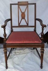 Gorgeous Antique Arm Chair Solid Wood Great Moire Upholstery Painted Design