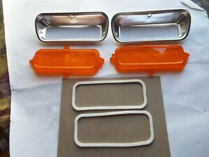 1962 1963 1964 1965 1966 Chevy Truck 2 Parking Light Bezel Set W Lens Gaskets