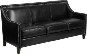 Transitional Black Leathersoft Office Lounge Sofa With Silver Nailhead Trim