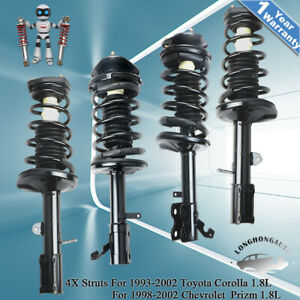 4pcs Front Rear Complete Shock Absorbers Struts For 93 02 Toyota Corolla Prizm