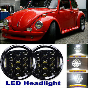 2x 7 Led Headlights Round Upgrade Hi Low Beam For 1950 1979 Vw Beetle Classic