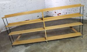 Mid Century Modern Minimalist Iron And Blonde Oak Bookcase Shelf Room Divider