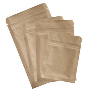New Flat Brown Kraft Zip Lock Reclosable Mylar Bags Pouches Different Sizes
