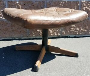 Mid Century Gote Mobler Eames Style Ottoman For Lounge Chair Leather Chrome Base