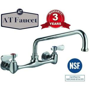 Commercial Kitchen 8 Center Wall mount Faucet With 12 Spout 3 Year Warranty