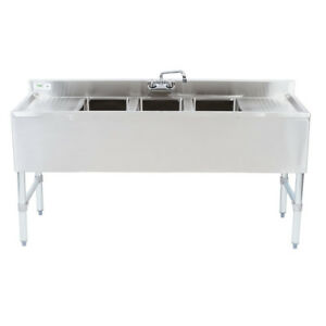 60 Stainless Steel Nsf 3 Compartment Commercial Kitchen Sink With 2 Drainboards