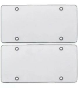 2x Clear Flat License Plate Cover Shield Tinted Plastic Tag Protector