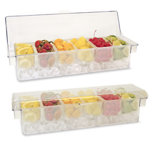 Clear Ice Cooled Condiment Holder With Clear Dome Lid With 6 Pint Inserts