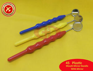 45 New Dental Mouth Mirror 4 With Handle Material Plastic Free Shipping Gd