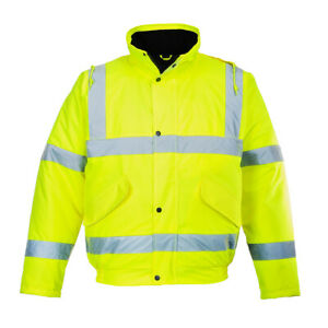 Portwest Us463 Hivis Reflective Safety Work Hooded Waterproof Bomber Jacket Ansi