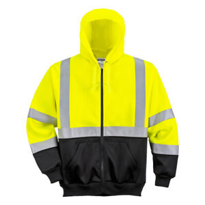 Hi Vis Hoodie Sweatshirt Zipped Class 3 High Visibility Safety Reflective Ub315