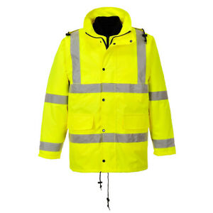Hi Vis 4 in 1 Rain Jacket High Visibility Reflective Work Portwest Us468