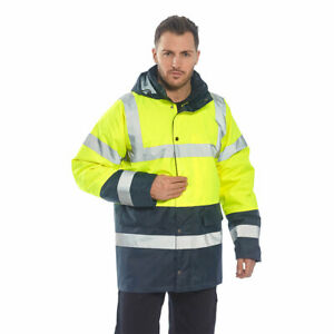 Hi vis Rain Traffic Jacket High Visibility Work Safety Ansi 3 2 Portwest Us466