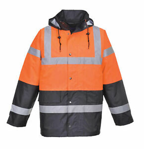 Portwest Us467 Hi vis Two Tone Traffic Jacket In Orange Navy To Ansi Class 3