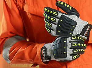 Portwest A722 Anti Impact Cut Resistat Safety Glove With Nitrile Sandy Grip Ansi