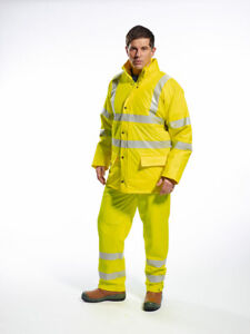 Portwest Rain Jacket Unlined High Visibility Tape Waterproof Ansi Yellow Us491
