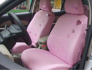 Universal Light Pink Kitty Car Seat Covers Front Rear Cover Accessory Set 10pcs