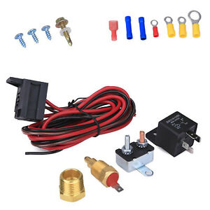 Electric Cooling Fan 175 185 Degree Thermostat Relay Switch Kit Temp Sensor