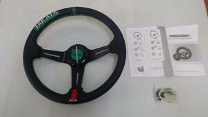 Steering Wheel 3 Spoke Racing Style Leather Green Stitching With Horn Button 14