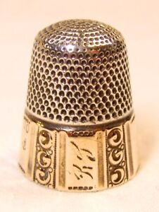 Antique Stern Bros Gold Band Sterling Silver Thimble Panels Columns R J Mgm