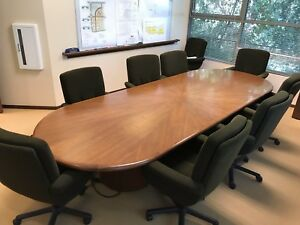 Beautiful 12 Solid Oak Wood Conference Room Table W 9 Chairs