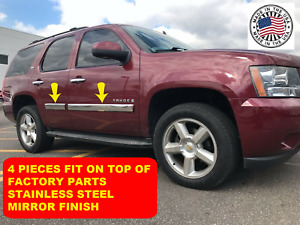 For Avalanche Suburban Body Side Molding Trim Overlay Stainless Steel 3 1 2