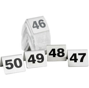 1 50 Stainless Steel 2 Silver Restaurant Table Tent Number Stand Seating Sign