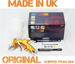 Paint Spray Gun Devilbiss Gti Pro Lite 1 4mm Hv25 Gold cup New From Us Seller