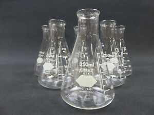 Kimax 250ml Erlenmeyer Flask 26501 Stopper No 6 Lot Of 6
