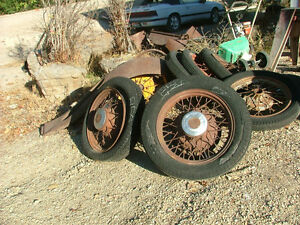 Old Antique Car Parts A Pair Of 1920 S Chevy 19 Inch Spoke Wheel With Tires