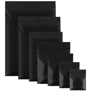New Flat Black Plastic Zip Lock Reclosable Bags Pouches Variety Quantities Sizes