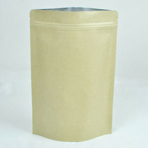 Brown Kraft silver kraft Stand Up Zip Lock Bags Multiple Qty 9x14cm 3 5x5 5in