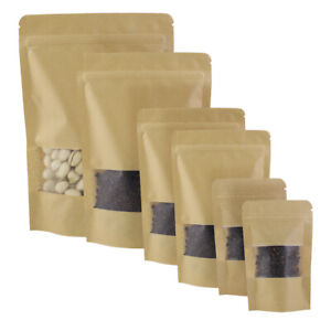 Brown Kraft Stand Up Zip Lock Resealable Bags W Clear Window Variety Qty Sizes