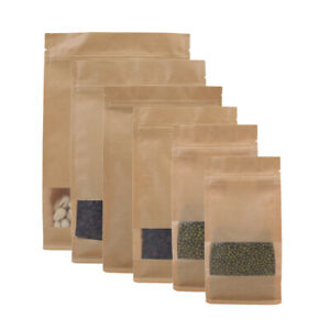 Brown Kraft Stand Up Ziplock Bags W Clear Window Side Gusset Multiple Qty Sizes