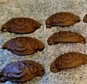 Set Of 6 Antique Style Cupped Drawer Pulls 3 1 2 L X 1 3 4 W X 3 4 D