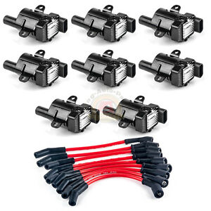 Set Of 8 Round Ignition Coils Kit With 8 Pcs Spark Plug Wires For Chevy New