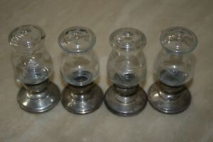 Set Of Four Sterling Silver Weighted Etched Glass Salt And Pepper Shakers
