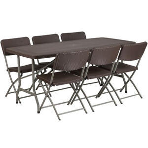 67 5 Rectangular Brown Rattan Plastic Folding Table Set With 6 Folding Chairs