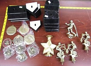 Lot Of Trophy And Medal Pieces Biking baseball track star