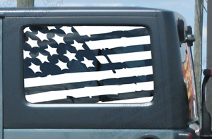 Jku Side Window Distressed Usa Flag Vinyl Sticker Decal Jeep Wrangler Worn J4g