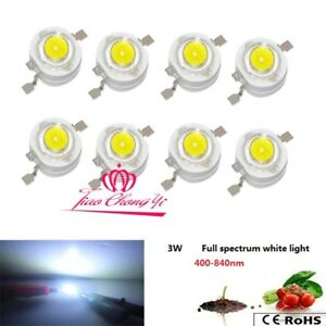 100pcs Hydroponics 3w Full Spectrum White Lihgt 400nm 840nm Led For Plant Grow