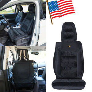 Faux Fleece Plush Auto Car Seat Cover Cushion Soft Encore Fabric Cushion Black