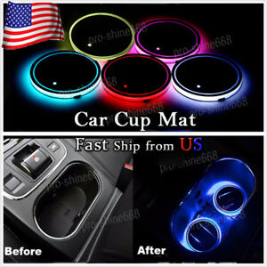 2x Switchable 7 Colors Rgb Led Car Cup Holder Pad Mat Atmosphere Light For Lexus