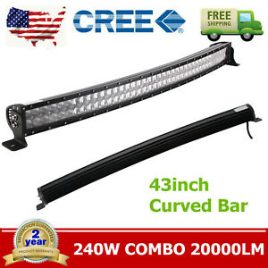 43inch 240w Curved Led Work Light Bar Flood Spot Combo Jeep Offroad Truck Suv