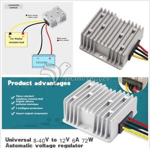 Car Power Automatic Voltage Stabilizer Regulator 8 40v To 12v 6a 72w Converter