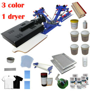 3 Color Screen Printing Press Kit Micro adjust Printer Diy Consumables Ink Coat