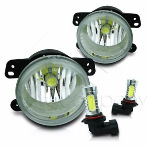 For 10 15 Jeep Wrangler Fog Light Replacement Set W high Power Cob Led Bulbs