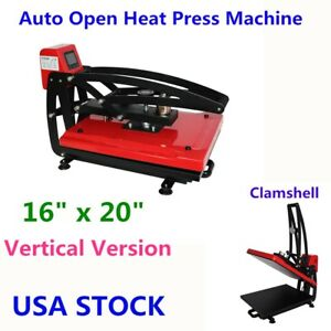 16 X 20 Clamshell Auto Open Heat Press Machine Vertical Version 110v Us Stock