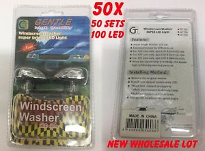 Lot 50 Sets Led Universal Windshield Washer Jet Spray Nozzle Wiper Light Up