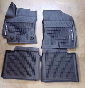 Toyota Corolla 2017 2019 Black All Weather Rubber Floor Liner Mats Set